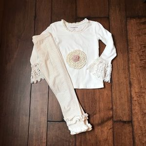 Mustard Pie Ivory lace top/ivory tan stipe pant-4t